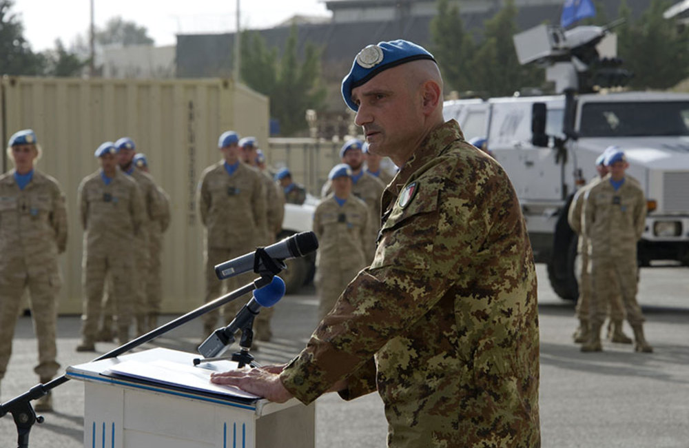 UNIFIL Head of Mission and Force Commander, Maj.-Gen. Luciano Portolano thanks the Belgian troops for their exemplary contribution to UNIFIL's mandate in south Lebanon.